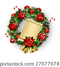 White card with Christmas wreath and bow 27077078