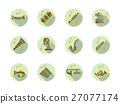Brass and woodwind tunes round flat vector icons 27077174
