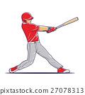baseball player hitting the ball. 27078313
