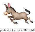 Cute donkey cartoon running 27078666