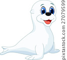 Cute baby seal cartoon 27079599