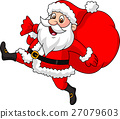 Santa Claus running with the bag of the presents 27079603