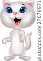Cute white cat cartoon 27079971