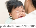 Baby sick and crying on mom shoulder. 27080985