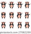 chimpanzee, vector, flat 27082200