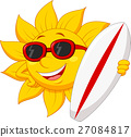 Sun Cartoon Holding a Surfer Board 27084817