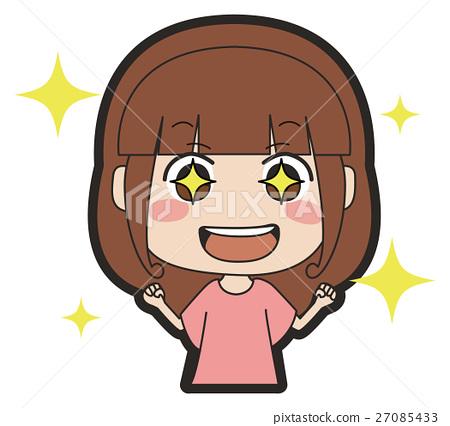 Illustration of long-haired girls shining eyes 27085433