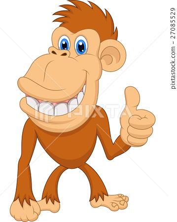 Cute monkey cartoon with thumb up 27085529