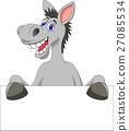 Donkey cartoon with blank sign 27085534