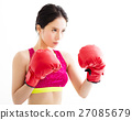 fitness young woman  wearing red boxing gloves 27085679