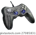 watercolor sketch of joystick on white background 27085831