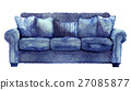 watercolor sketch of sofa on a white background 27085877