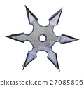 watercolor sketch of shuriken on white background 27085896