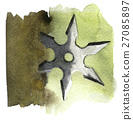 watercolor sketch of shuriken on white background 27085897