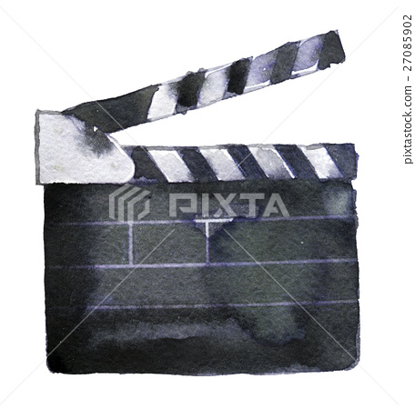 watercolor sketch of clapperboard on white  27085902
