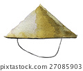 watercolor sketch of bamboo hat on white  27085903