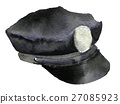 watercolor sketch of police cap on white  27085923
