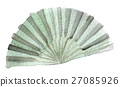 watercolor sketch of hand fan on white background 27085926