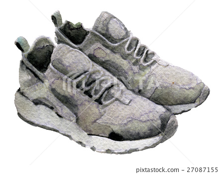 watercolor sketch of sneakers on white background 27087155