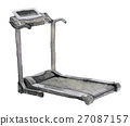 watercolor sketch of treadmill on white background 27087157