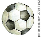 watercolor sketch of soccer ball white background 27087162