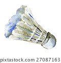 watercolor sketch of shuttlecock  white background 27087163