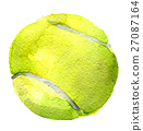 watercolor sketch of tennis ball white background 27087164