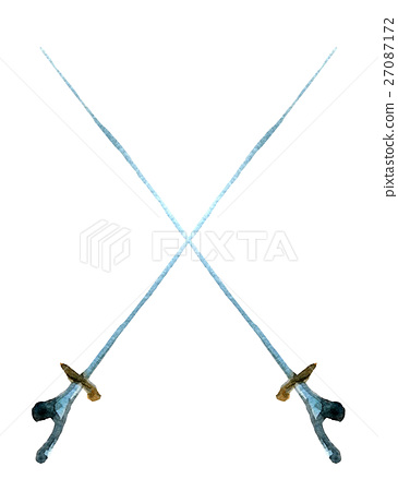 watercolor sketch of pair of rapiers on white  27087172