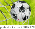 watercolor sketch of soccer ball in goal 27087179