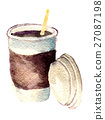 watercolor sketch of paper cup of coffee  27087198