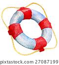 watercolor sketch of lifebuoy on white background 27087199