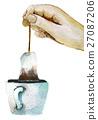 watercolor sketch of cup of tea with tea bag 27087206