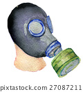 watercolor sketch of gas mask on white background 27087211