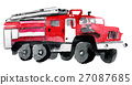 watercolor sketch of fire engine white background 27087685
