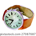 watercolor sketch of wrist watch white background 27087687