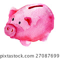 watercolor sketch of pig piggy bank on white 27087699