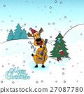 Christmas reindeer vector illustration. Merry 27087780