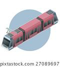 Isometric light train on circle background 27089697