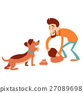 Man cleaning its dogs poop 27089698