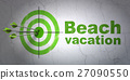 Travel concept: target and Beach Vacation on wall 27090550