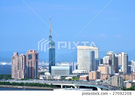 城市景觀摩天大樓在福岡市 27092208