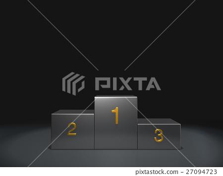 metal podium winner on dark background 27094723