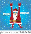 vector biker santa claus with smoking pipe. 27096476