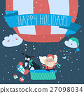 Santa Claus flying in a hot air balloon with 27098034