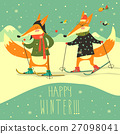 Cute foxes skiing on the piste 27098041
