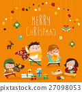 Card with cute kids, sweets and christmas presents 27098053