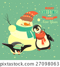 Funny penguins with snowman celebrating Christmas 27098063