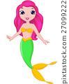 Cute mermaid cartoon 27099222