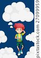 Boy on fluffy clouds background 27099959