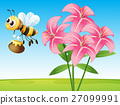 Scene with lily and bee 27099991